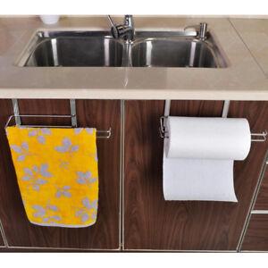 Kitchen-Roll-Holder-Stainless-Steel-Sucker-Tissue-Paper-Towel-Rack-Over-Door