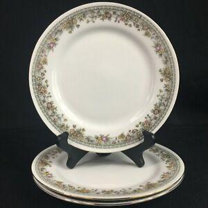 Set-of-3-VTG-Salad-Plates-7-1-4-034-by-Crown-Regent-Fine-China-Flowers-Floral-Swag