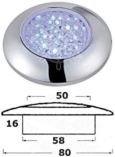 Osculati Chromed ABS Watertight Blue 9 LEDs Courtesy Light 12V 0.6W 50mm Lens