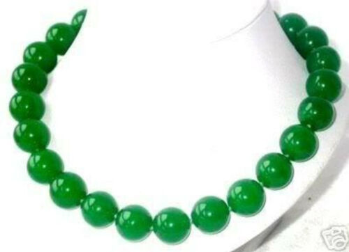 """18/"""" Imperial Green Jade 14mm Round Beads Necklace"""