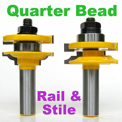 "2pc 1/2"" SH Quarter Bead Rail & Stile Router Bit Set sct-888"