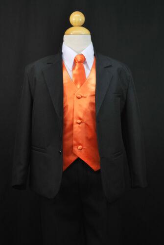 S1 BOY Formal Party Black Tuxedo Suit Orange Vest /& Tie 1 2 3 4 5 6 7 8 10 12 14