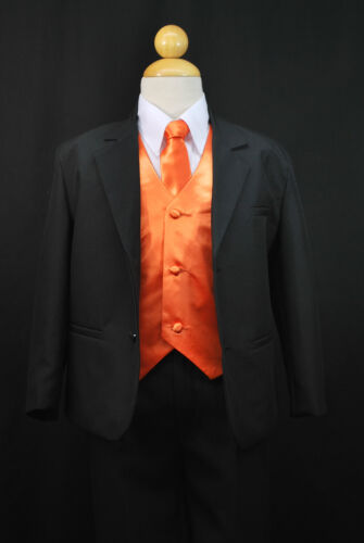 S2 BOY Formal Party Wedding Tuxedo Suit Orange Vest /& Tie 2 3 4 5 6 7 8 10 12 14