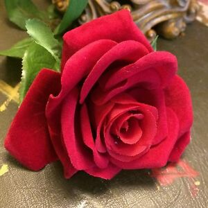 Bunch of 7 Realistic Red Velvet Roses Balmoral Rose Artificial Silk Flowers