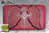 Montana West Hp Rhinestone Cross On Wings Checkbook Wallet
