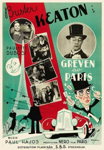 THE KING OF THE CHAMPS ELYSEES Movie POSTER 11x17 Swedish Buster Keaton