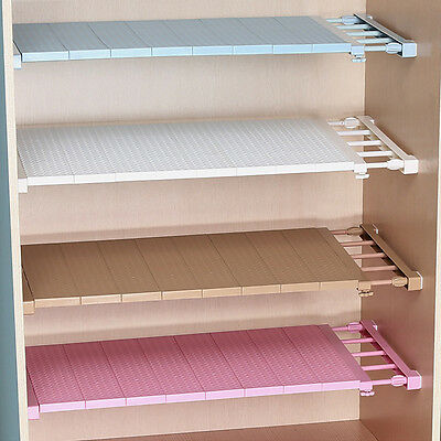 Plastic Wardrobe Closet Storage Shelf Cabinet Stretchable Layered Partition Rack