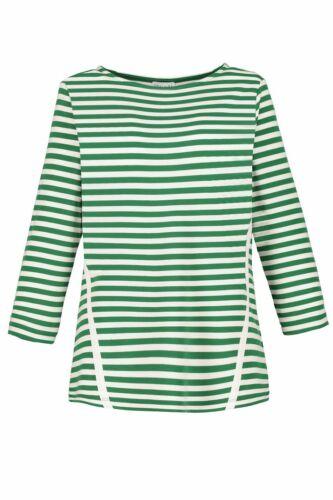 Gina Laura Sweatshirt,gestreift,Ripsbanddetails smaragdgrün NEU