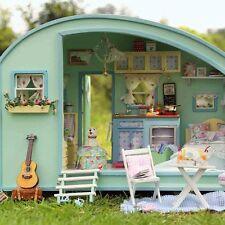 New DIY Wooden Dolls House Miniature Kit-Caravan Doll House Music Box X'mas Gift