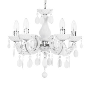 5 light chandelier home white decorative marie therese ceiling light image is loading 5 light chandelier home white decorative marie therese aloadofball Gallery