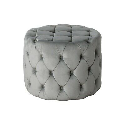 Admirable Luxury Grey Velvet Fabric Upholstered Furniture Seat Round Ottoman Foot Stool Ebay Caraccident5 Cool Chair Designs And Ideas Caraccident5Info