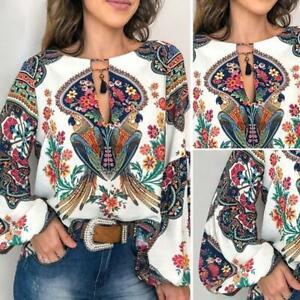 Women-Boho-Floral-V-Neck-Long-Lantern-Sleeve-Oversize-Blouse-T-Shirt-Tops-M-4XL