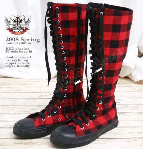 20 Hole Punk Rock Knee Hi Laceup Sneaker Flat Boot Black & Red Checker Plaid