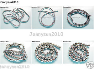 Natural-Hematite-Gemstone-Round-Ball-Beads-16-039-039-Silver-2mm-3mm-4mm-6mm-8mm-10mm