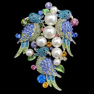 "3.27 ""Large 3 Parrot Bird Animal Faux Pearl Brooch Pin Multi Austrian Crystal"