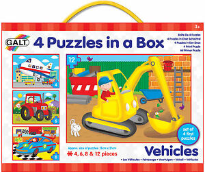 Galt 4 PUZZLES IN A BOX VEHICLES Baby/Toddler/Child Jigsaw Shape Sorter - New