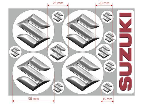 4pcs 50mm SUZUKI logo decal stickers 7pcs 15mm diameter