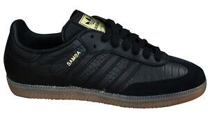 Adidas-Originals-Samba-Womens-Trainers-Lace-Up-Shoes-Black-Leather-BZ0620-M17