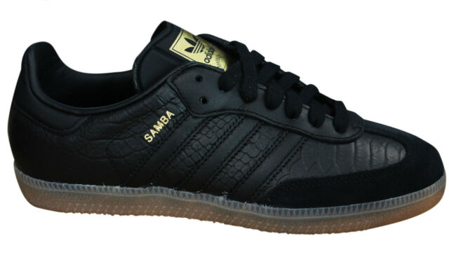 9c5acc500b83 Adidas Originals Samba Womens Trainers Lace Up Shoes Black Leather BZ0620  M17
