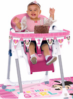 Baby Girl First Birthday Chair Decorating Kit Minnie Mouse Party Supply 1st 2pc