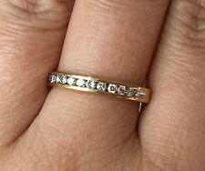 10k Yellow Gold Channel Set Round Diamond Wedding Band Ring sz6.75