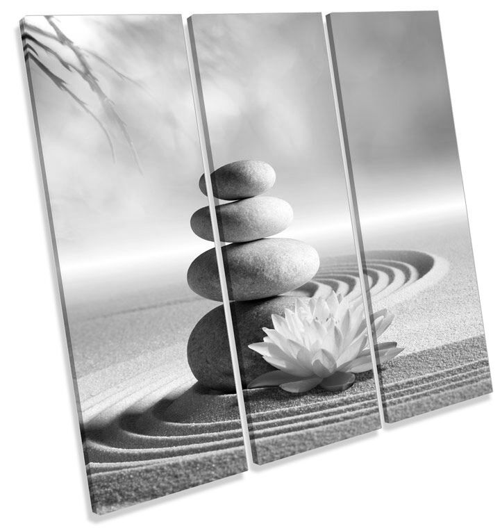 Zen Stones Floral B&W CANVAS WALL ART TREBLE Square Print Picture