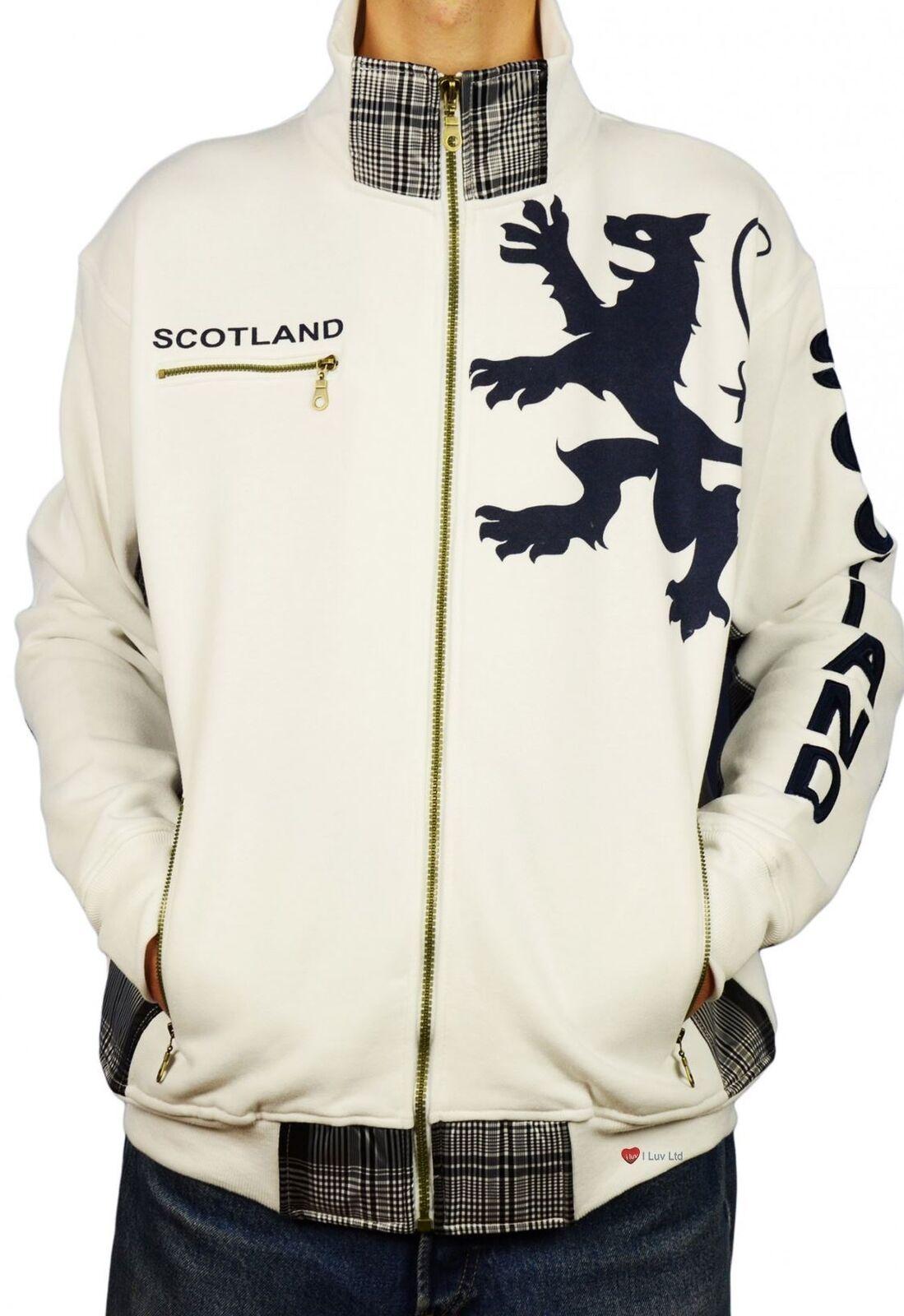 Mens Zipper Top Scotland Lion Tartan Insert White Size X-Large