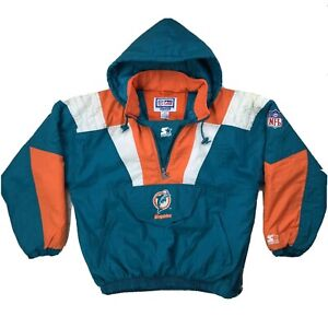 Vtg-NFL-Pro-Line-Starter-Miami-Dolphins-Zip-Front-Hooded-Jacket-Mens-Sz-Medium