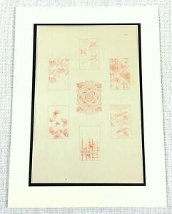 1890 Antico Giapponese Stampa Parati Disegni Art Airone Crane Uccelli Farfalle