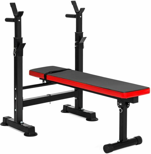 Adjustable Folding Fitness Barbell Rack and Weight Bench for Home Strength Gym