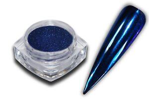 Chrom Effekt Pigment Puder Blau Glitzer Glitter Pulver Mirrow Nail Art Nagel