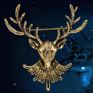 Mens-Vintage-Deer-Head-Elk-Antler-Stag-Lapel-Stick-Pin-Tie-Hat-Scarf-Brooch