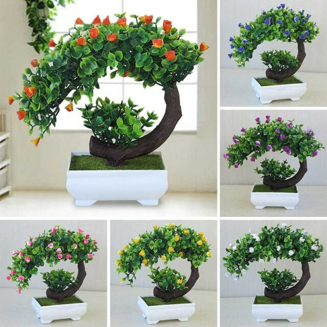 Bonsai Tree In Square Pot Artificial Plant Decoration For Office Home 18cm 7in For Sale Online Ebay
