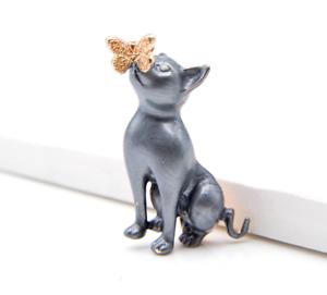 Cat Brooch Pin Badge Enamel Gift Grey Gold Jewellery Kitten Ladies Butterfly UK