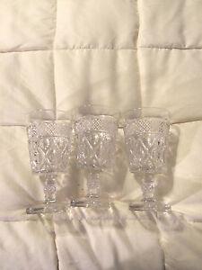 3-VINTAGE-CLEAR-AMERICAN-FOSTORIA-GLASS-SQUARE-PEDESTAL-GOBLETS-CUPS-LOT-SET