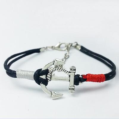 Fashion Women Men Multilayer Leather Handmade Cuff Wristband Anchor Bracelet New