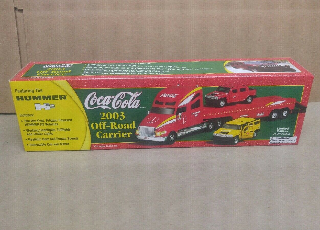 2003 Coca-Cola Off-Road Carrier w   Two Hummer H2 Vehicles Limited Edition New