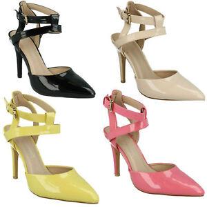 Anne-Michelle-de-mujer-Puntiagudos-Hebilla-Tira-en-Tobillo-Zapatos-tacon-Aguja
