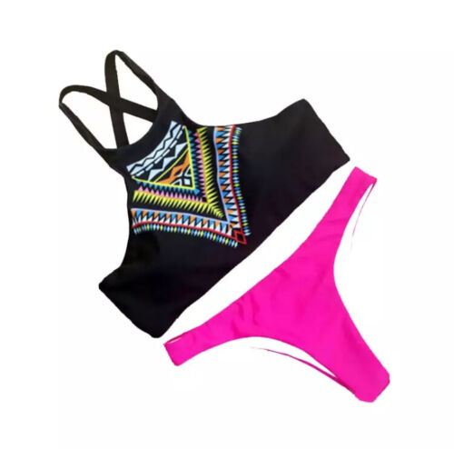 Women Summer High Neck Swimwear Bikini Padded UK Seller
