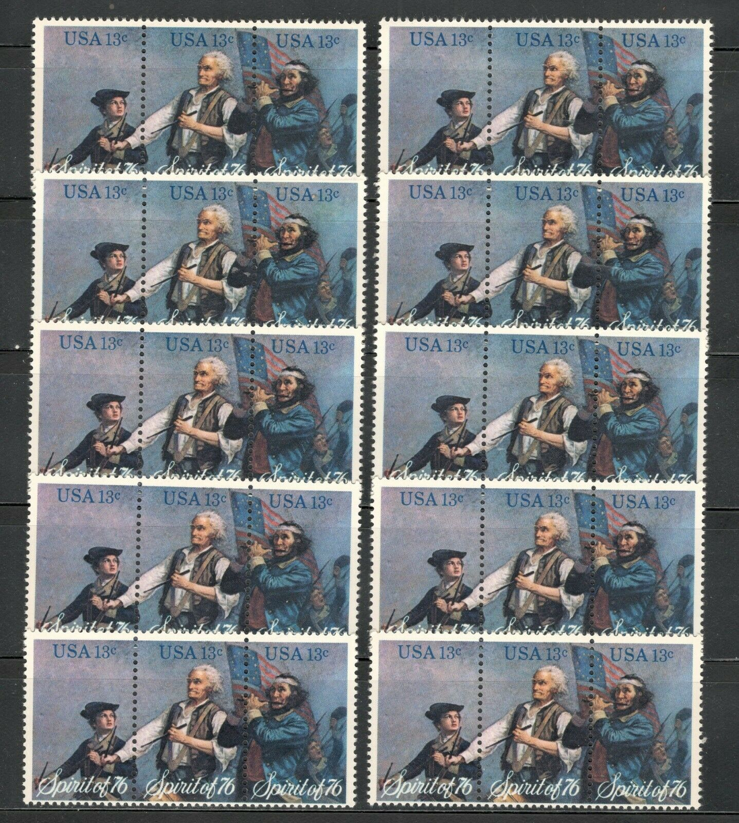 1629-31 The Spirit Of '76 10 Strips Of 3 (30 Stamps) Mint/nh Below Face