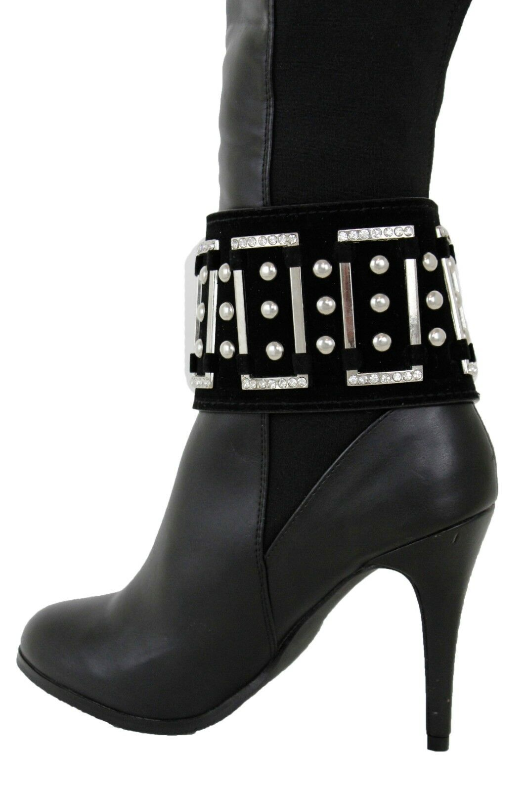 Women Silver Metal Chain Boot Bracelet Shoe Charm Wide Black Band Strap Jewelry