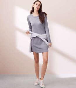 Lou-amp-Grey-Women-039-s-Gray-Striped-Signature-Soft-Shirt-Dress-Medium-NEW