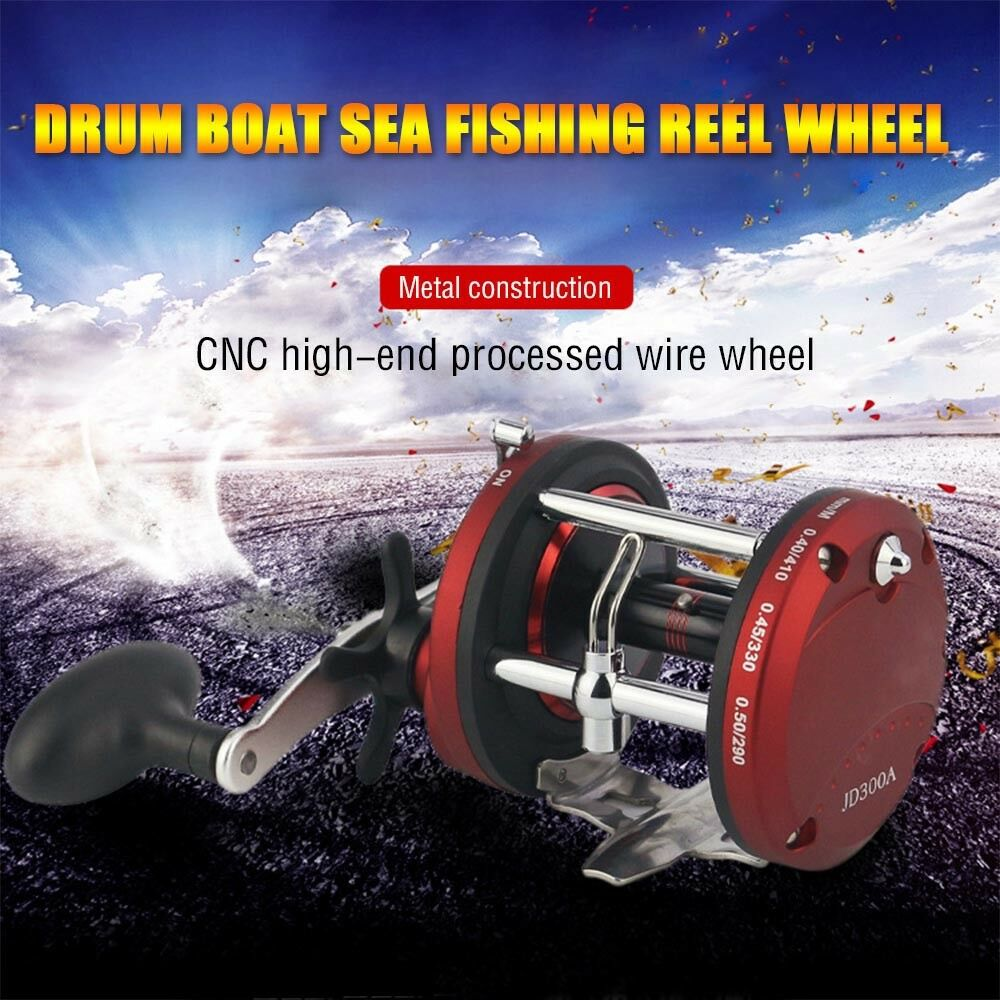 12BB Ball Bearing Bait Metal Casting JD Drum Boat Sea Fishing Reel Wheel Red