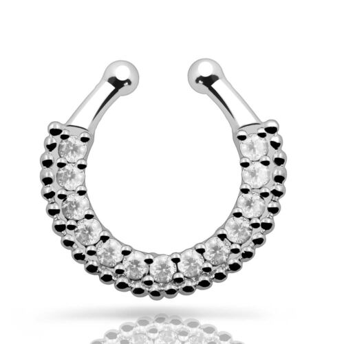 Fake Clip On Septum Clicker Nose Ring Non Piercing Hanger Non Ring Body Jewelry