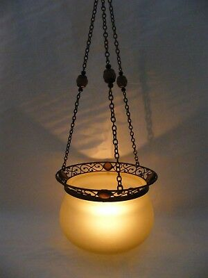 Partylite Paris Retro Hanging Candle Lamp Amber Glass Holder New In Box