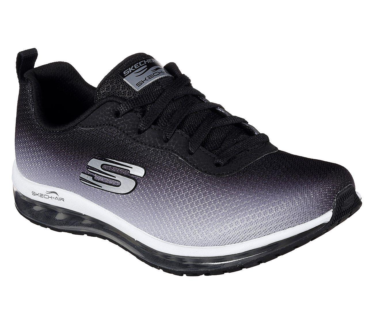 12640 Black Skechers shoes Memory Foam Women Sport Air Cushion Ombre Mesh Comfort