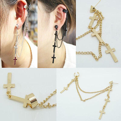 1Pcs Women Men Punk Crosses Tassel Chain Dangle Charm Ear Stud Cuff Clip Earring