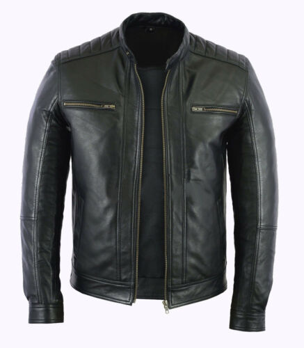 in pelle moda Giacca stile di motociclista moto uomo agnello nera vera xp4wC