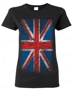 United Kingdom Union Jack Distressed Flag Great Britain Womens T-Shirt Tee