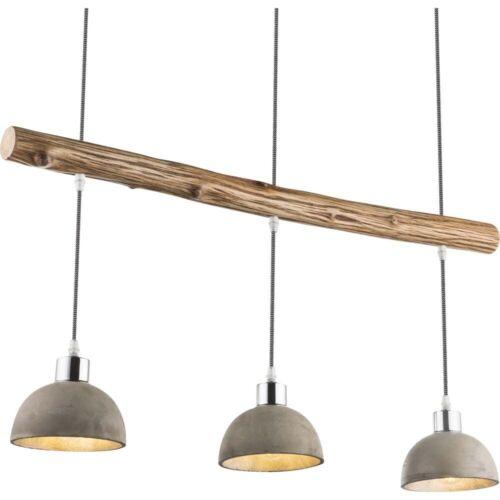 Luxus Pendel Hänge Leuchte Wohn Zimmer Beton Lampe Holz Dielen Strahler silber